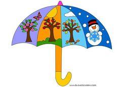 Umbrella depicting the seasons