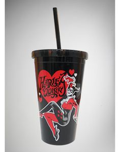 Harley Quinn Heart Cup with Straw
