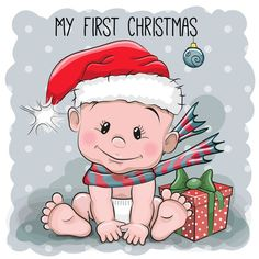 Find Cute Cartoon Baby Santa Hat On stock images in HD and millions of other royalty-free stock photos, illustrations and vectors in the Shutterstock collection. Thousands of new, high-quality pictures added every day. Clipart Baby, Baby Cartoon, Cute Cartoon, Baby Santa Hat, Baby Illustration, Belly Painting, My First Christmas, Baby Images, Christmas Clipart