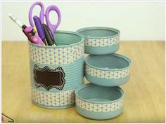 Ideas For Recycling Cans - Super Creative Ideas Diy Crafts Love, Tin Can Crafts, Crafts To Make, Fun Crafts, Crafts For Kids, Coffee Can Crafts, Recycle Cans, Jolie Photo, Origami Easy