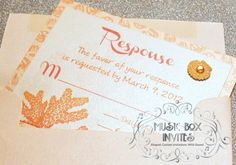 Musical Wedding or Party Invitation and RSVP Card in Sand, Beach Coral Orange Pink Ivory Sand and white sea shells horse and star fish with ribbon and embellishment. Comes in Musical Box that Sings! Singing Music boxed invite. Totally custom, high end/class, couture, elegant invite.