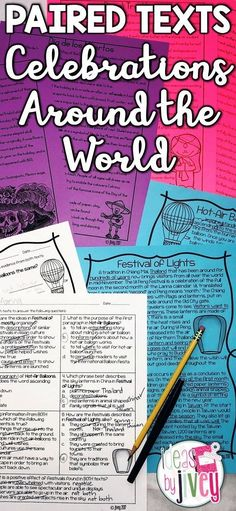 Students will learn about the Festivals of Lights in Thailand, Taiwan, and China and compare it to the International Balloon Fiesta; Diwali and the traditions of food and clothing; and Dia de los Muertos (Day of the Dead) and the icon, Catrina through paired texts with rigorous questioning. Students don't even realize they are doing work with these high-interest paired passages!