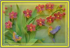 Hummingbird, by Olga Olszak (quilling art) Paper Quilling Flowers, Quilled Paper Art, 3d Quilling, Paper Quilling Designs, Quilling Paper Craft, Quilling Patterns, Quilling Cards, Paper Crafts, Quilling Ideas