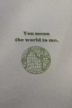 sweet saying on letterpress greeting card from flywheel