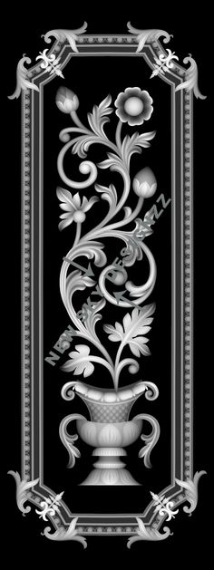 SP 002 Wood Carving Patterns, Carving Designs, Stencil Designs, Glass Design, Door Design, Zbrush, Motif Arabesque, Cnc Cutting Design, Grayscale Image