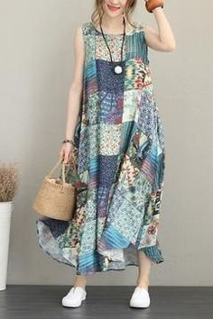 Casual Print Blue Maxi Sundress Women Linen Clothes – Linen Dresses For Women Trendy Dresses, Simple Dresses, Casual Dresses For Women, Summer Dresses, Clothes For Women, Casual Clothes, Summer Maxi, Summer Outfits, Casual Summer