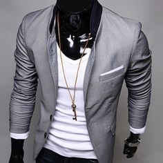 (CLUB WEAR) Smart casual two button-stand up collar men suit jacket coat