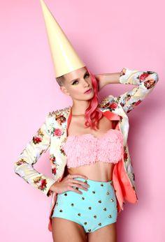 Yellow printed blazer, pom pom bra & mint studded shorts ANA LJUBINKOVIC #ana_ljubinkovic #pastel #clown #kitsch #pompom #dress #pinkhair #lookbook #studs #mint #pink