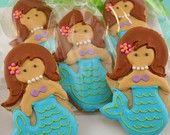 Mermaid Sugar Cookies - 1 Dozen Decorated Cookies. $36.00, via Etsy.