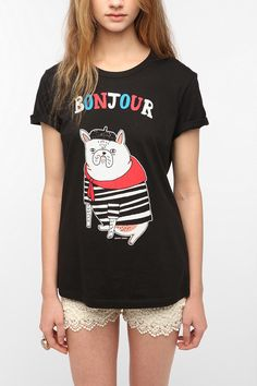 Gemma Correll Bonjour French Bulldog Tee  urban outfitters