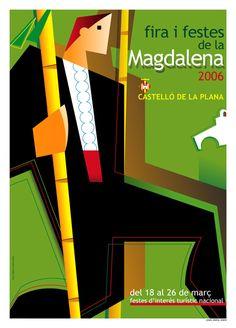 2006 - Cartel Fiestas de la Magdalena de Castellón de la Plana Symbols, Letters, Valencia, Party, Silver Roses, Black Animals, Retro Advertising, Laminas Para Decoupage, Letter