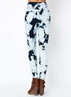 Fashion2Love Blue Bleached &amp Distressed High-Waist Skinny Jeans