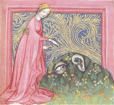"""Ulrich von Pottenstein, Spiegel der Weisheit. Salzburg, c.1430. """"…a miniature of the Human ear complaining to a personification of Nature that she has given him no such protection as the eye was given with the eyebrows."""""""
