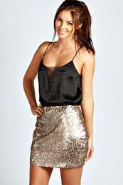 Caroline All Over Sequin Mini Skirt