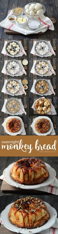 Use this easy overnight monkey bread recipe (aka sticky buns) with cinnamon, brown sugar etc to make a delicious family treat from scratch. Healthy Bread Recipes, Vegetarian Breakfast Recipes, Homemade Desserts, Dessert Recipes, Monkey Bread, Sweet Recipes, Yummy Food, Live, School Breakfast