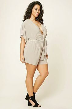 Forever 21+ - A knit romper featuring a surplice front, a belted elasticized waist, and short sleeves.