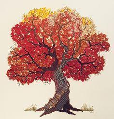 Genähter Herbstbaum, 50 x 50 cm