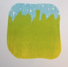 The gradient in this print was a complete happy accident, but I love it! It's the second color of a 4 color print that I am working on. :) Theresa Williams, Black Wood Print Shop, 2016.