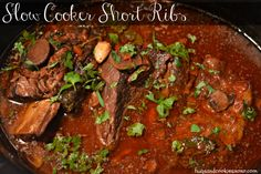 You'll Be Needing... Crockpot Print Short Ribs Braised In Red Wine   Ingredients 4½ pounds 3-inch-long beef short ribs (I skimped and used 3 pounds only) Coarse kosher salt 2 cups dry red wine 1 28 ounce can crushed tomatoes 1 6-ounce package sliced button mushrooms ½ cup finely chopped onion 6 garlic cloves, peeled …