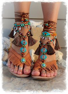 Neon FEATHER Charm ANKLE Bracelet ceramic beaded Tribal от GPyoga