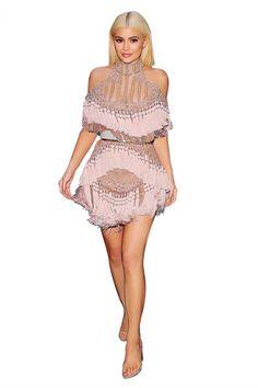 Women Evening Party Dresses Pink Luxury Beading off Shoulder Tassel Mesh Short Sleeve Celebrity Runway Dress Sexy Dress