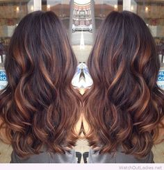 Lovely balayage technique over brown hair with caramel highlights!! Check out now!!