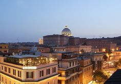 A hotel with a roof garden near the Vatican and Sistine Chapel, with breakfast and a bottle of wine