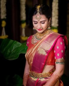 A gorgeous rendition for a gorgeous bride. Bridal Silk Saree, Saree Wedding, Punjabi Wedding, South Indian Bride, Indian Bridal, Indian Groom, Hyderabad, Wedding Art, Wedding Couples