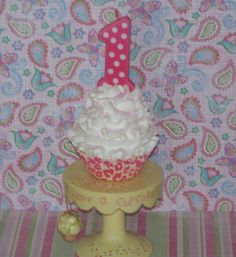 White and Pink Leopard 1st First Birthday by FakeCupcakeCreations, $11.50