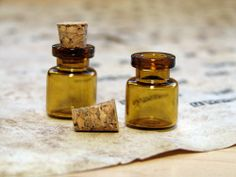 Mini Amber Apothecary Bottles [2006] - $0.50 : Trilby Works, Art Supplies for Mixed Media, Altered Art, and Assemblage Art