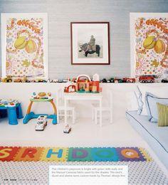 grey grasscloth kids room