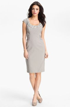 Adrianna Papell Embellished Ruched Sheath Dress | Nordstrom  Mom would love the bling on the collar!  #Nordstromweddings