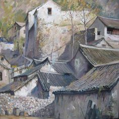 Fall in China | Brown County Art Guild | Original oil painting on canvas by Duan Zhen Zhong. Duan's originally from China but currently resides in Dublin, OH.