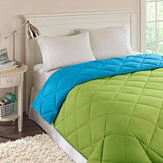 @Overstock - Always hypoallergenic, a down alternative comforter is great for folks with or without allergies. With microfiber construction and a brightly colored reversible design, this comforter set is a great addition to any bedroom.http://www.overstock.com/Bedding-Bath/Reversible-Turquoise-Lime-Quilted-Microfiber-Down-Alternative-Comforter/5034428/product.html?CID=214117 CAD              47.16