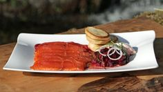 BBC Food - Recipes - Whisky-cured salmon with beetroot and blinis