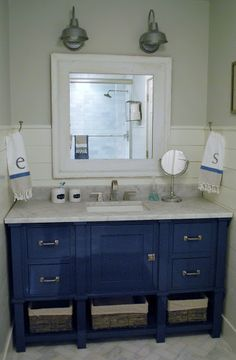blue bathroom vanity cabinet. This is what I want the kitchen cabinets to look like but open underneath  not Blue Bathroom VanityNavy Dark blue bathroom 5 darkbluebathroom