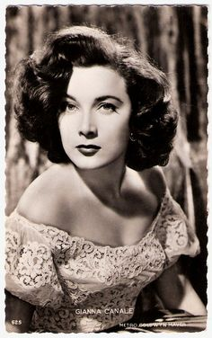 """""""Italian femme fatale Gianna Maria Canale (1927-2009) was a leading lady of international films of the 1950s and early 1960s. Her anatomy figured prominently in many sword and sandal epics and pirate adventures as sultry temptresses and princesses."""""""