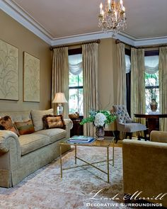 Boston South End brownstone bay window gold and cream interiors living room