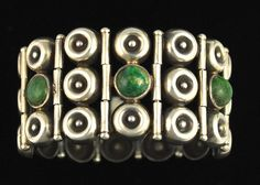 Bracelet | Los Ballesteros.  Sterling silver and Azure Malachite.  C. 1940s.