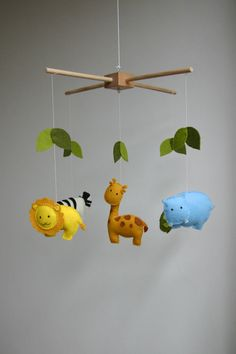 Organic DIY Animal mobile kit, Kit jungle mobile, kit mobile wild animals, Giraffe, hippo, turtle, lion on Etsy, $37.47