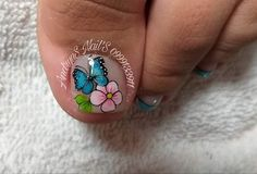 New Nail Art Design, Nail Art Designs, Pedicure Nails, Manicure, Summer Toe Nails, Toe Nail Art, Blue Nails, Opi, Lily