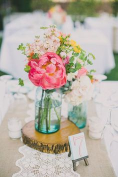 #coral #teal #lace Mason Jar Centerpieces: Styling Your Rustic Wedding - KnotsVilla