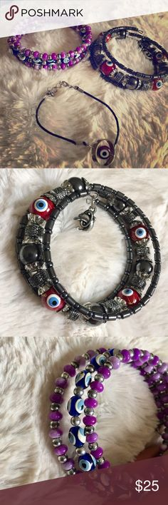 A bundle of 3 piece Evil Eye bracelets Wearing an evil eye is believed to provide protection against evil forces.  Slay with protection 😉💋. The red one was bought in Turkey. Accessories