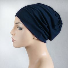 e937060b1ce4 Navy Blue Chemo Hat, Casual Hat, Volumizer, Sleep Hat Alopecia Cap,Scarf  Liner Slouch Hat, Pretied Turban