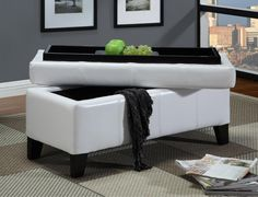 White Leather Storage Bench Faux With Wood Serving Tray Bedroom New White Storage Bench, Leather Storage Bench, Leather Bench, Ottoman With Storage, Bedroom Storage, Bedroom Decor, Bedroom Ideas, White Leather Ottoman, Padded Bench