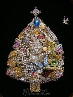 VINTAGE ESTATE FRAMED ART RHINESTONE JEWELRY CHRISTMAS TREE - ebay $155