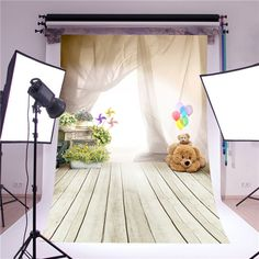photography backdrop photo props fantasy ballon bear children wooden floor vinyl 5x7ft or 3x5ft photo studio background for baby