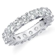 14K White Gold Shared-Prong Diamond Wedding Anniversary Eternity Band (4.0 cttw, H-I Color, SI1-SI2 Clarity) RING SIZE 4.5 - 14k, 4.0, 4.5, Anniversary, Band, Clarity, Color, cttw, Diamond, Eternity, Gold, Prong, Ring, Shared, SI1, SI2, Size, Wedding, White