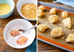 These Pretzel Crusted Chicken Bites are baked, not fried. Tender on the inside, crunchy on the outside - the whole family will love them! Trader Joes, Snack Recipes, Cooking Recipes, Snacks, Party Recipes, Baking Frozen Chicken, Pretzel Crusted Chicken, Pretzel Thins, Chicken Finger Recipes