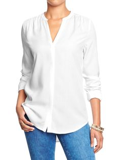 OLD NAVY Women's Split-Neck Covered-Placket Blouse in bright white, $32.94